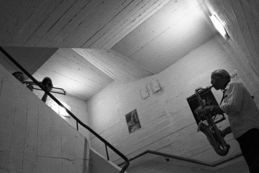 2007, DE, DE-NW, K, NRW, achim fink, b&w, bernd winterschladen, black and white, blech, blechbläser, brass, bw, cologne, deutschland, ereignisse, events, fotografie, germany, holzbläser, instrument, instrumente, instruments, jazz, kulturbunker, köln, music, musician, musicians, musik, musiker, mülheim, mülklangheim, nordrhein-westfalen, northrhine-westfalia, photography, posaune, saxophon, saxophone, schwarzweiß, stadtbezirk 9 - mülheim, sw, talking horns, trombone, woodwind, world