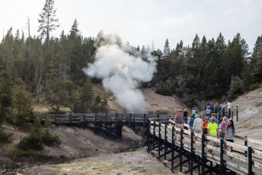 US, US-WY, USA, WY, dragons mouth spring, leute, menschen, mud vulcano area, people, tourist, touristen, tourists, united states, united states of america, vereinigte staaten, world, wyoming, yellowstone, yellowstone national park