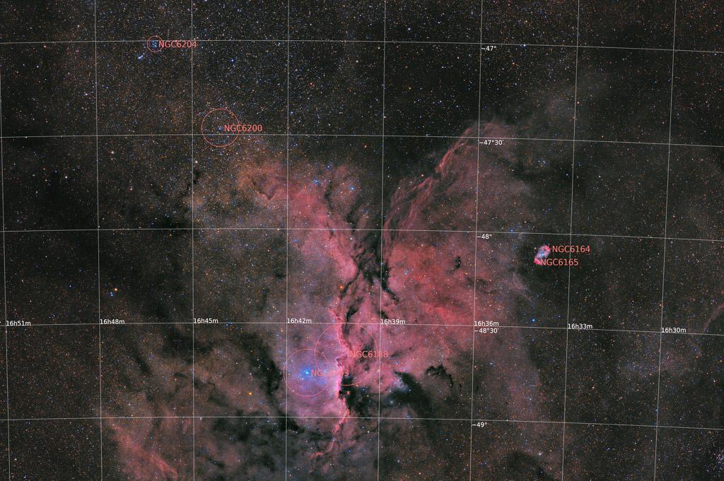 altar, ara, astrofotografie, astronomie, astronomy, astrophotography, emission nebula, emissionsnebel, ngc, ngc6164, ngc6165, ngc6188, ngc6193, open cluster, star, star cluster, stars, stern, sterne, sternhaufen