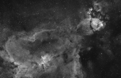 astrofotografie, astronomie, astronomy, astrophotography, b&w, black and white, bw, cassiopeia, emission nebula, emissionsnebel, fotografie, heart nebula, herznebel, ic, ic1805, kassiopeia, photography, schwarzweiß, sw