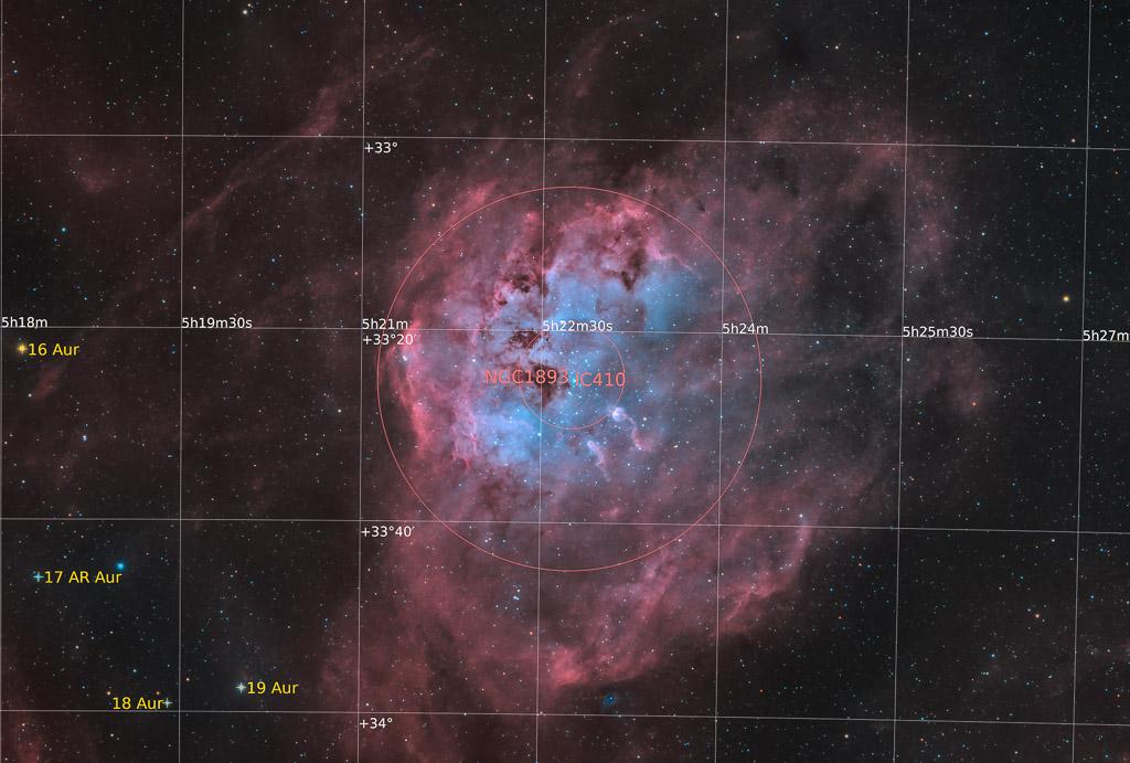 astrofotografie, astronomie, astronomy, astrophotography, auriga, bicolor, emission nebula, emissionsnebel, ic, ic410, tadpole nebula