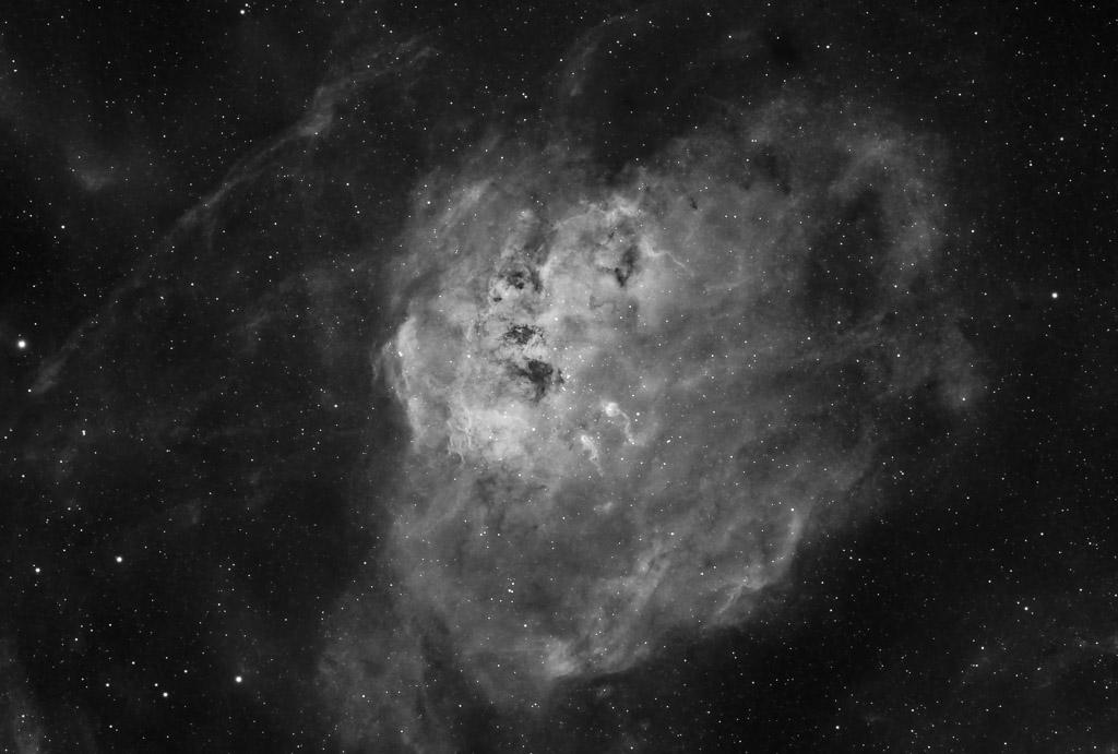 astrofotografie, astronomie, astronomy, astrophotography, auriga, b&w, black and white, bw, emission nebula, emissionsnebel, fotografie, ic, ic410, photography, schwarzweiß, sw, tadpole nebula